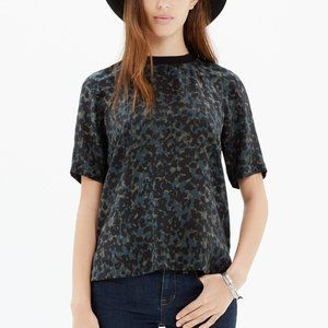 Madewell Silk Front Row Tee in Ink-Spot Leopard